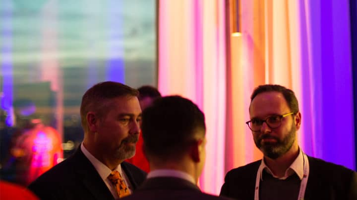 Nicolas Michellod and Joe Stephenson at FRAUDtalks reception
