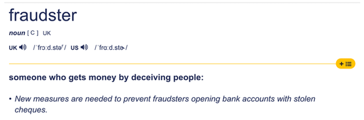 Fraudster definition